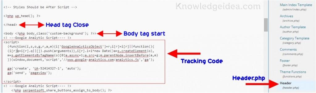 Google analytic Code in WordPress
