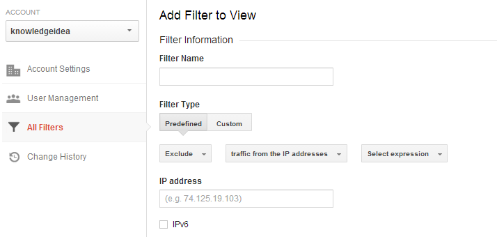 Google Analytics filter option