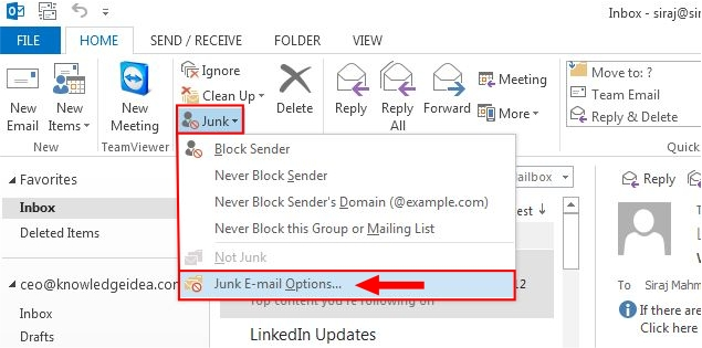 How to Unblock Sender in Outlook 2013