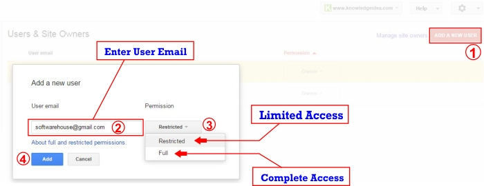 How to Add User in Google Webmaster Tool step 3