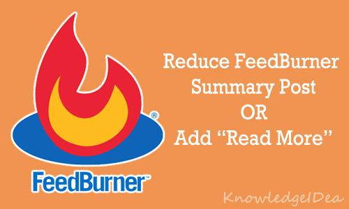 How to Reduce FeedBurner Summary Post