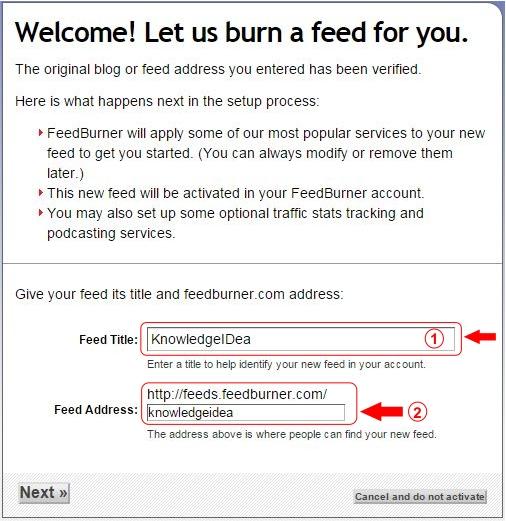 How to Setup FeedBurner For WordPress Step 2