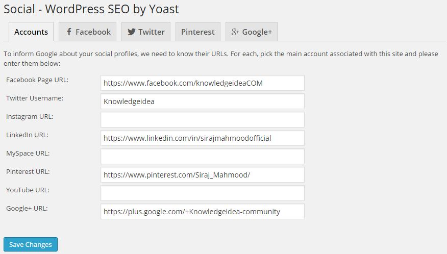 WordPress SEO By Yoast 2.0 Knowledge Graph Social Profiles