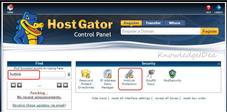 How to Enable Hotlink Protection in HostGator cPanel step 1