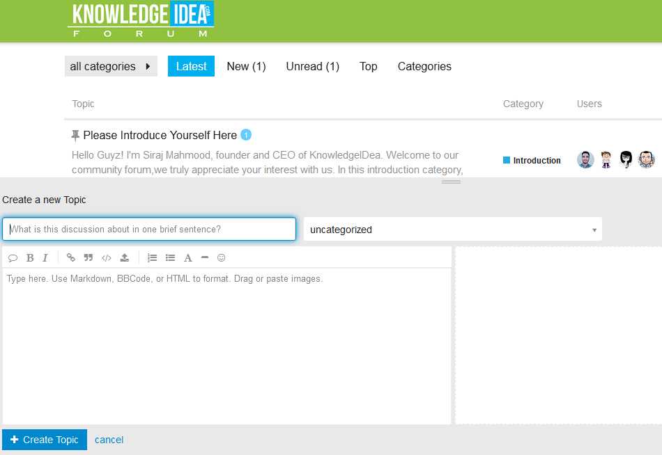 KnowledgeIDea Forum Create Topic Overview