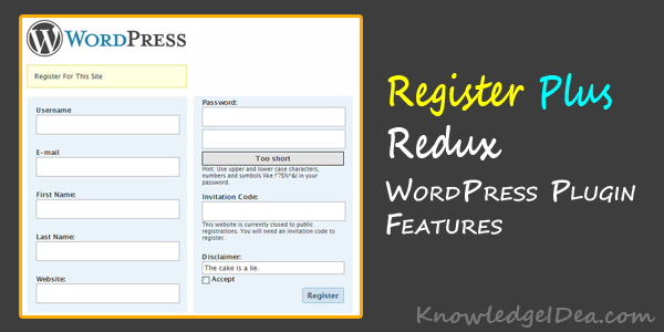 Register Plus Redux WordPress Plugin Features