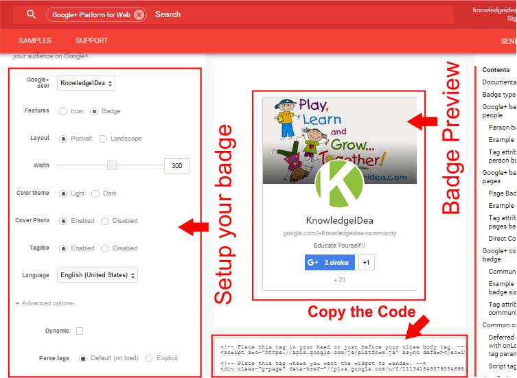 How to Add Google Plus Badge to Website step 2
