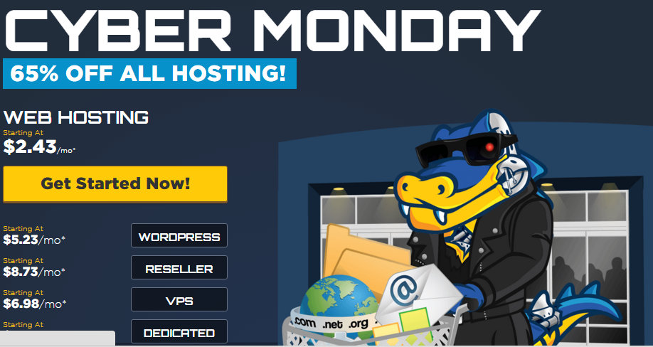 HostGator CYBER MONDAY 65 OFF ALL HOSTING