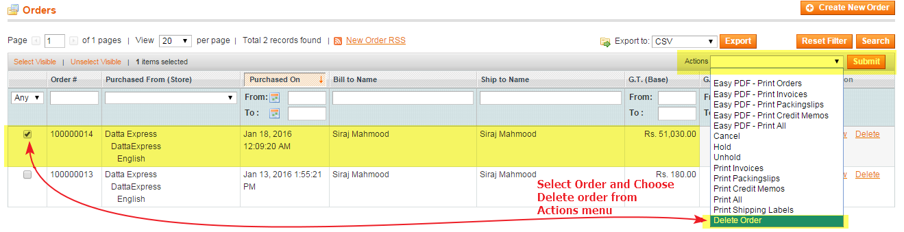 How to Delete Magento Orders Guide Step 3