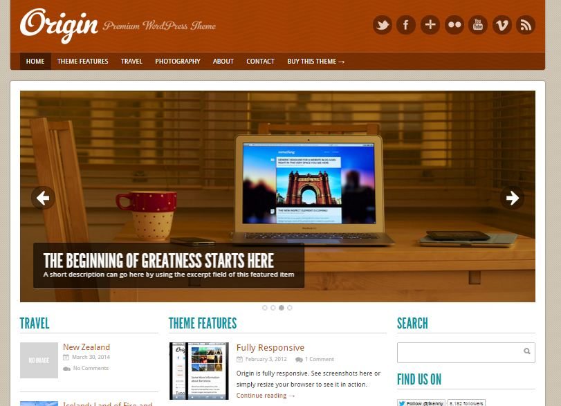 Origin Free WordPress Theme