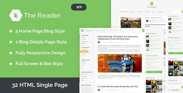The Reader Best WordPress theme