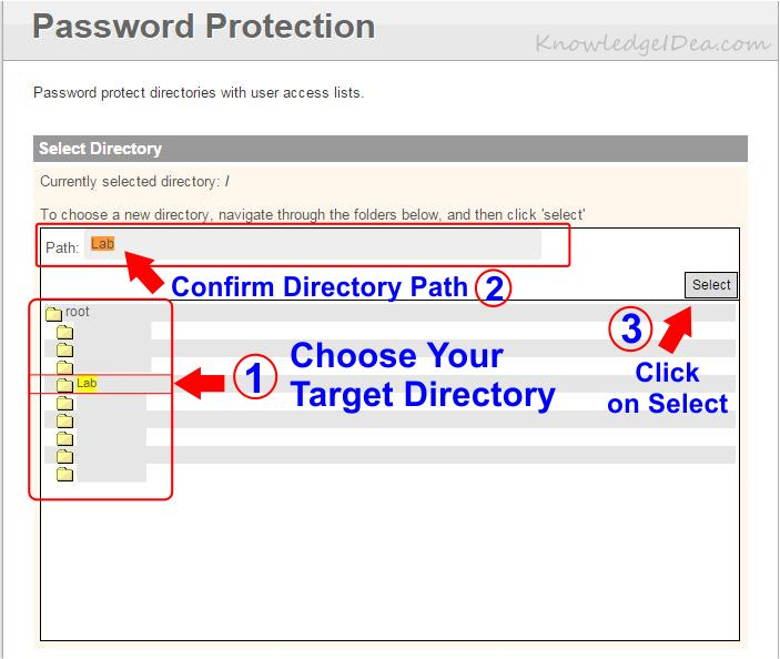 How to Enable Directory Password Protection in iPage step 4