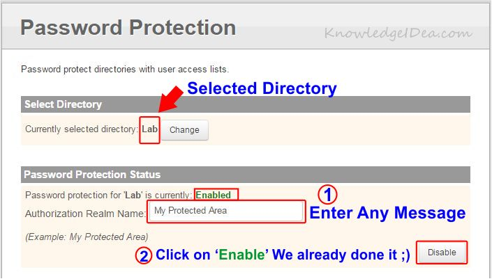How to Enable Directory Password Protection in iPage step 5
