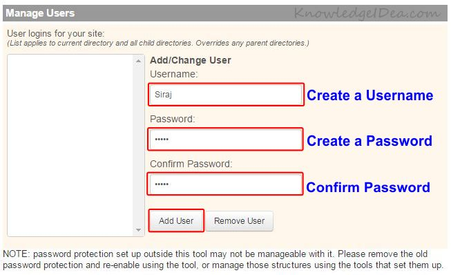 How to Enable Directory Password Protection in iPage step 6