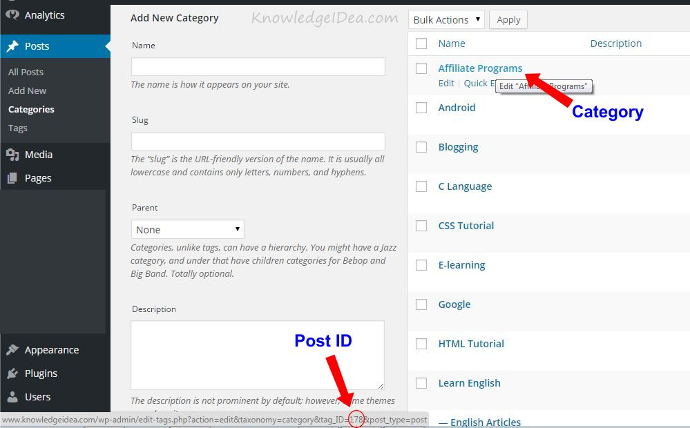 How To Find WordPress Post and Page ID Numbers step 2