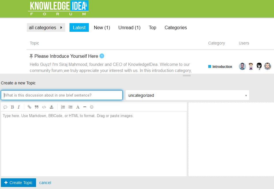 KnowledgeIDea Forum Create Topic Overview