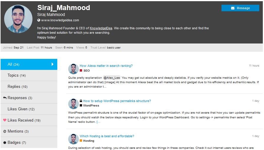 KnowledgeIDea Forum user profile view