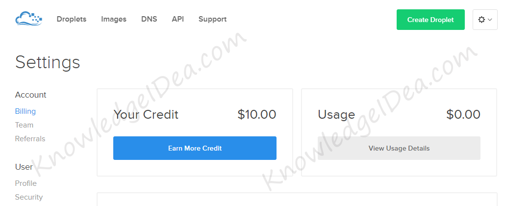 Digital Ocean $10 Credit FREE For Sign Up account view