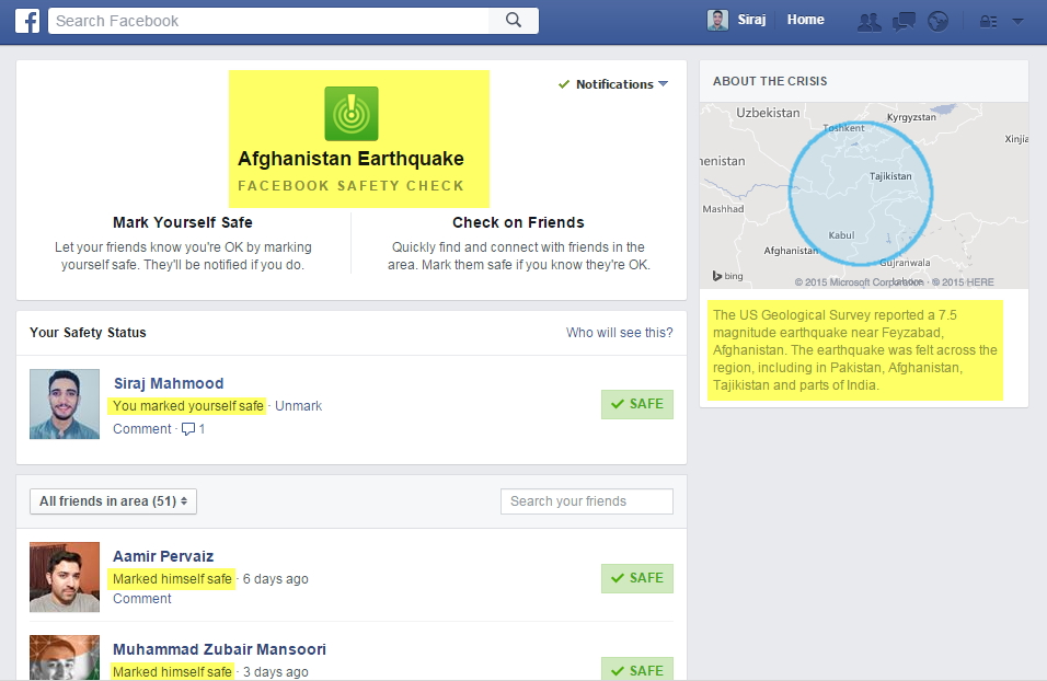 Facebook Safety Check Feature Afghanistan Earthquake