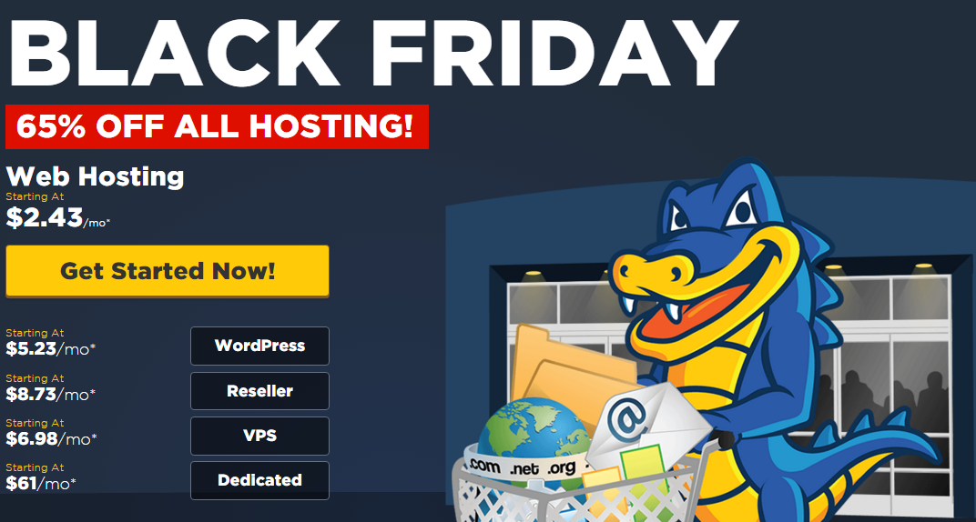 HostGator Black Friday Flash Sale 65% OFF