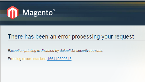 Exception Printing Disabled Error in Magento Overview