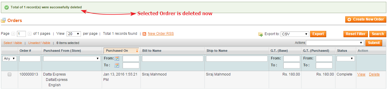 How to Delete Magento Orders Guide order deleted