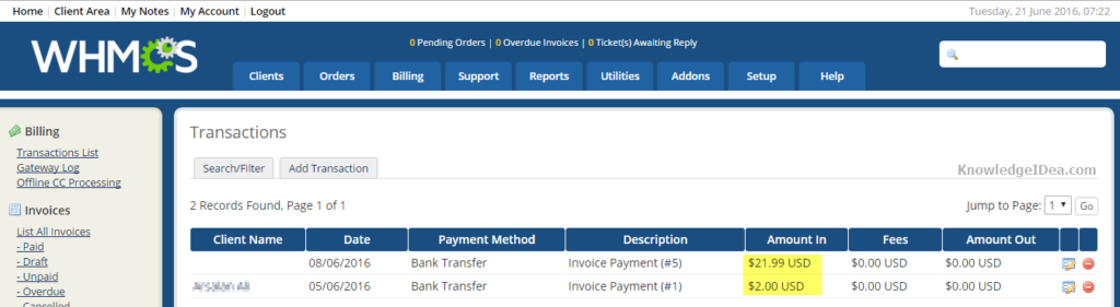 WHMCS Features Review in Detail Billing Section