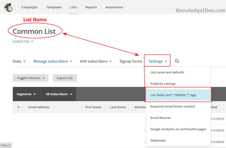 How to Create New Merge Tags in MailChimp Step 3